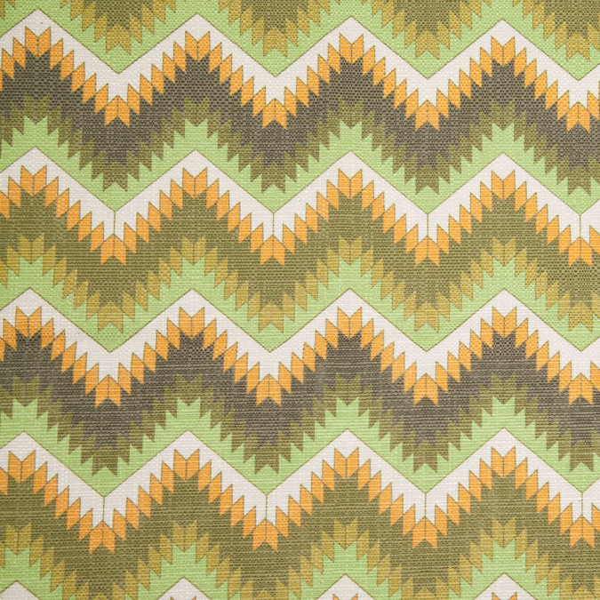 spanish green orange geometric poly cotton canvas 108313 11