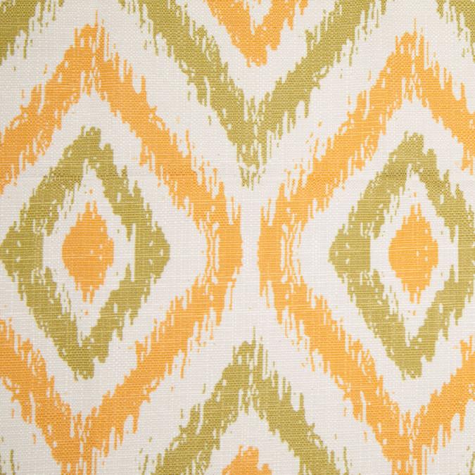 spanish green orange ikat like geometric poly cotton canvas 108306 11