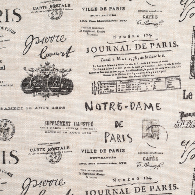 spanish ivory black paris journal printed poly cotton canvas 108802 11