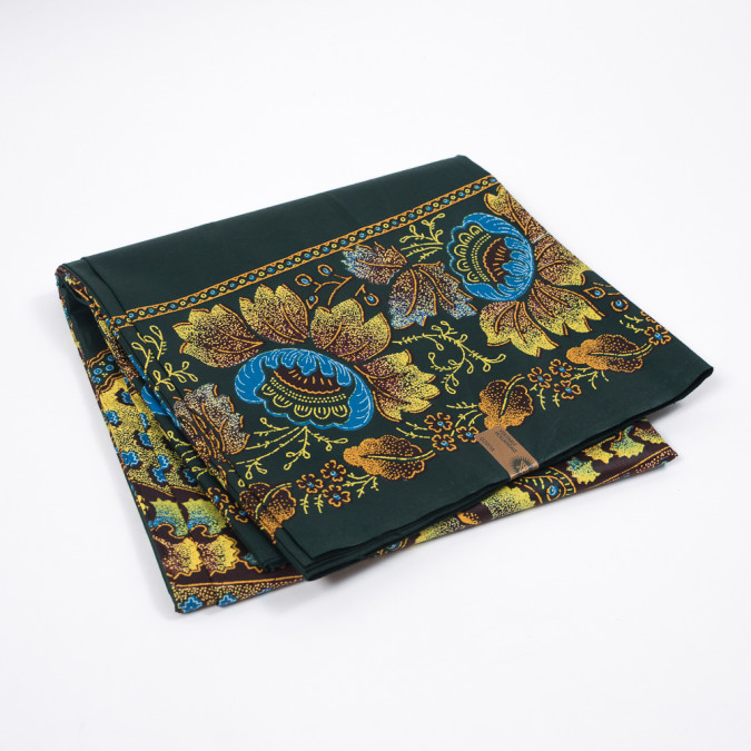 spruce green yellow and brown floral waxed cotton vlisco african print 319560 11