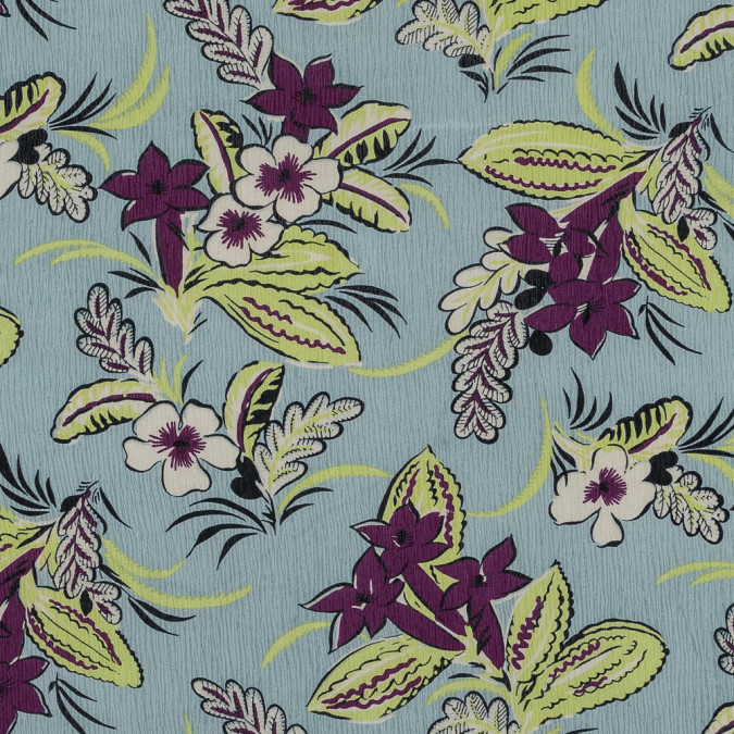 stonewash blue purple and lime floral printed crinkled silk crepe de chine 319310 11