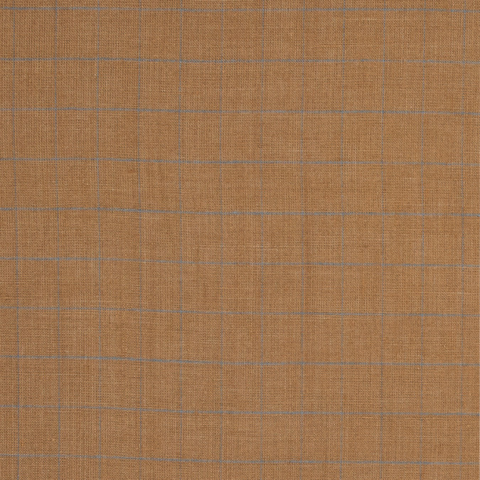 taffy beige and blue windowpane check linen woven 317715 11
