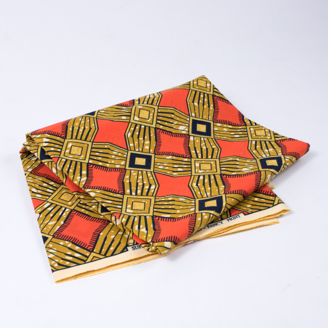 tawny olive and red orange waxed cotton african print with gold metallic glitter 312667 11