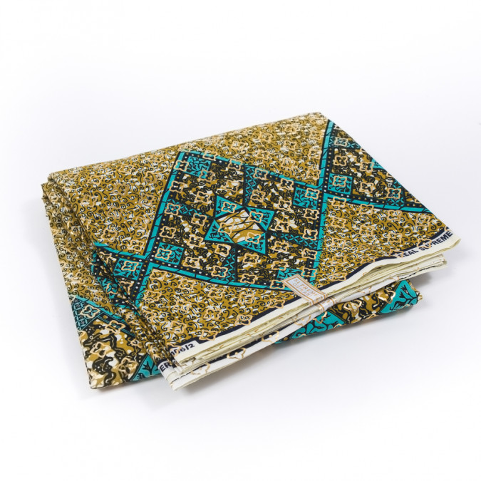 teal and nugget gold waxed cotton african print with gold metallic foil 319510 11