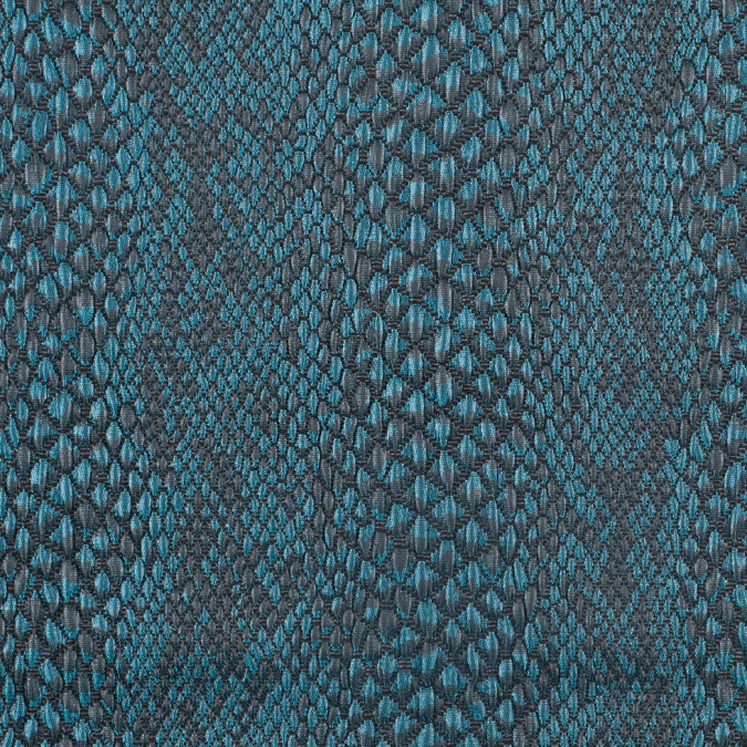 teal black reptillian puckered poly blend brocade 307766 11