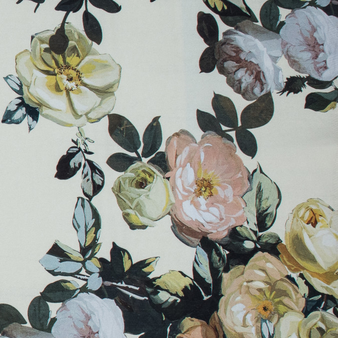 tender yellow and black forest digitally printed flowers on a premium mikado twill 116022 11