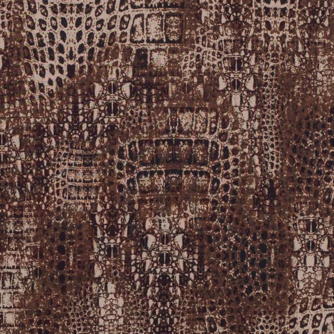 toffee and cornstalk python printed double faced stretch polyester crepe 314454 11