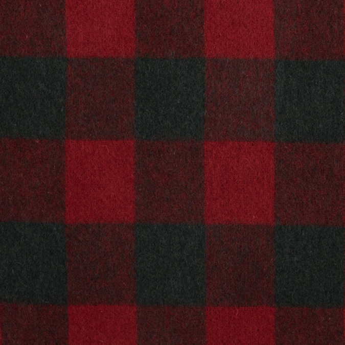 tomato red and forest green buffalo check wool double cloth 317301 11