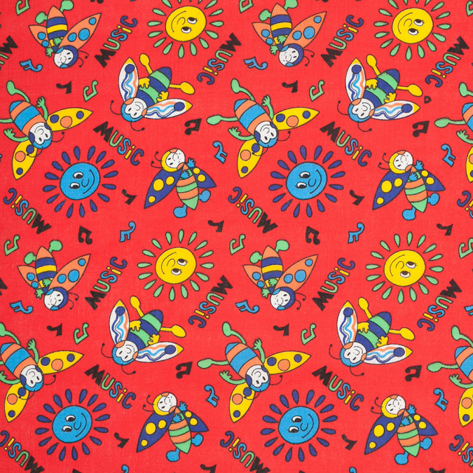 tomato red music bee and sun cotton print 305133 11