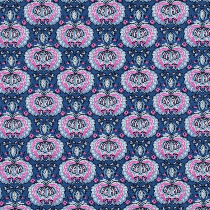 true blue and phlox pink palmette printed stretch cotton twill 314640 11