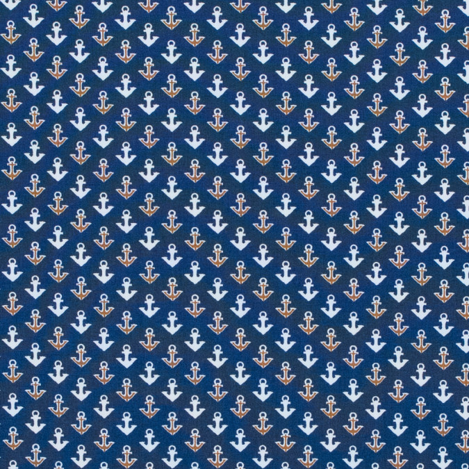 true navy anchor printed cotton poplin 314719 11