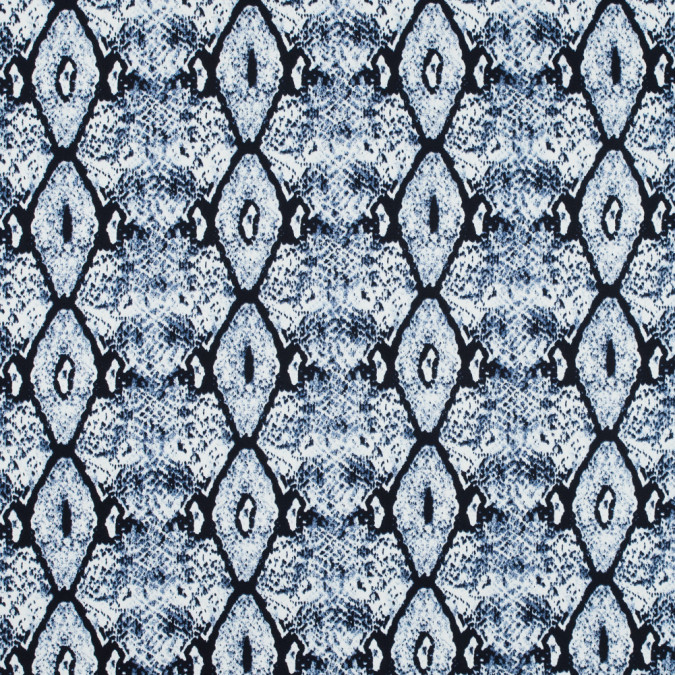 true navy and white python printed stretch cotton sateen 117338 11