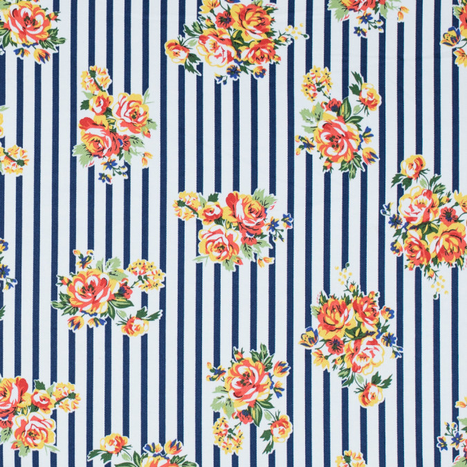 twilight blue tigerlily and freesia floral striped stretch cotton twill 314643 11