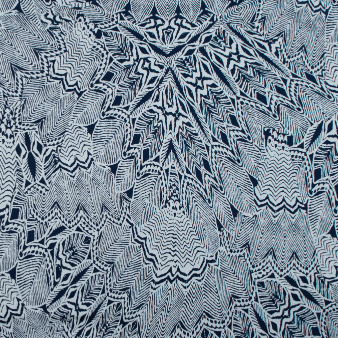 twilight blue and whisper white tribal printed stretch cotton sateen 117340 11