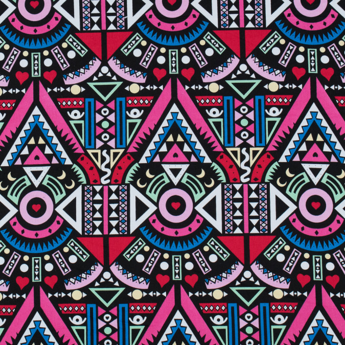 victoria blue magenta multicolor geometic printed stretch cotton twill 117405 11