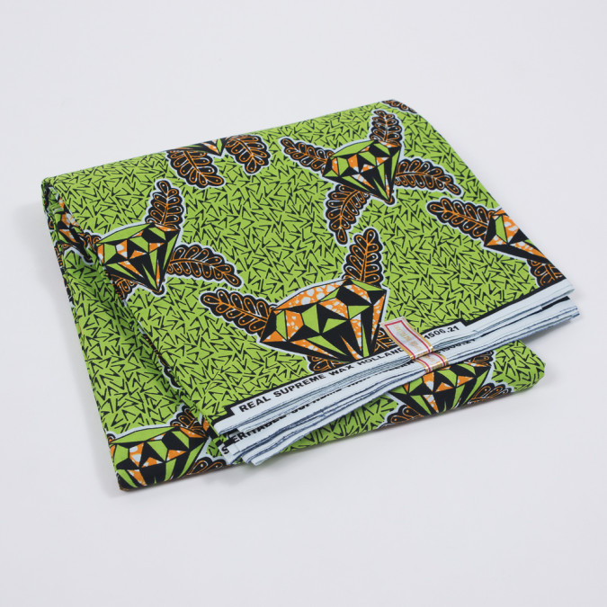 waxed cotton african print featuring lime green diamonds 319498 11