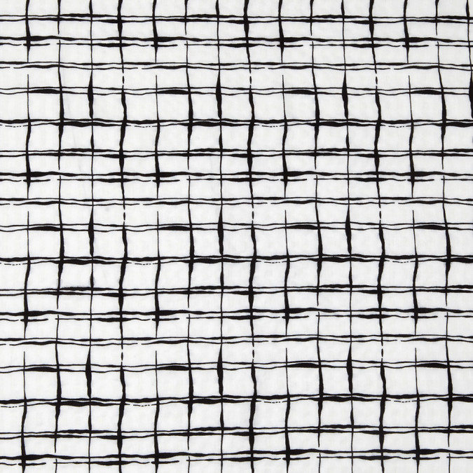 white black abstract grid rayon cotton poplin 308434 11