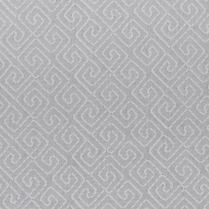 white diagonal greek keys embroidered onto a cotton batiste 311899 11