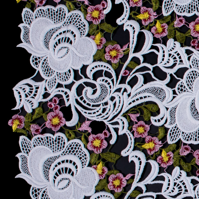 white floral embroidered guipure lace 115956 11