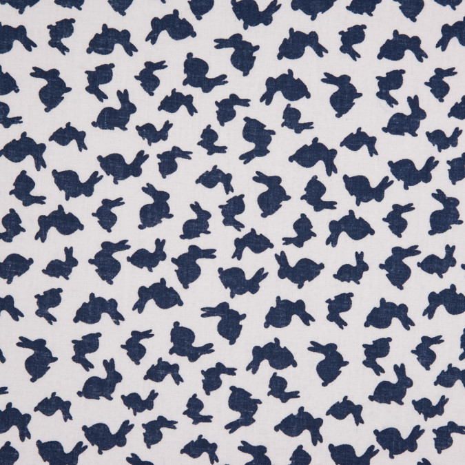 white navy bunny rabbit printed combed cotton voile 113866 11