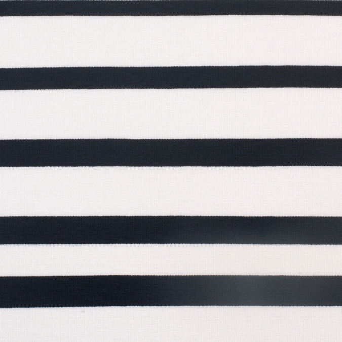 white navy striped stretch cotton viscose knit 307803 11