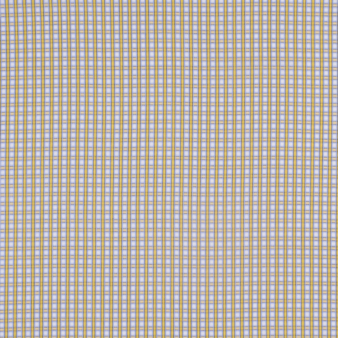 yellow blue and white checked cotton shirting 303669 11