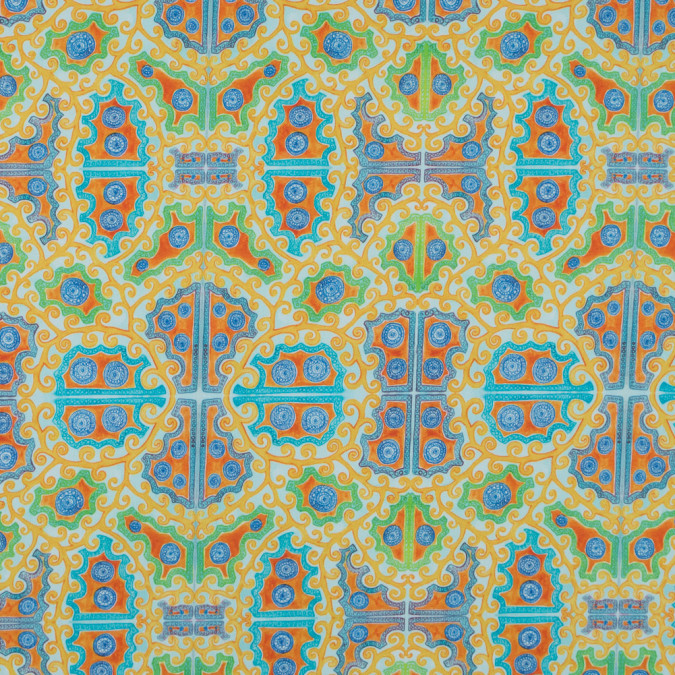 yellow and blue scroll printed stretch cotton sateen 315777 11