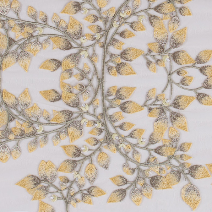 yellow and metallic gold floral novelty embroidered mesh 116541 11