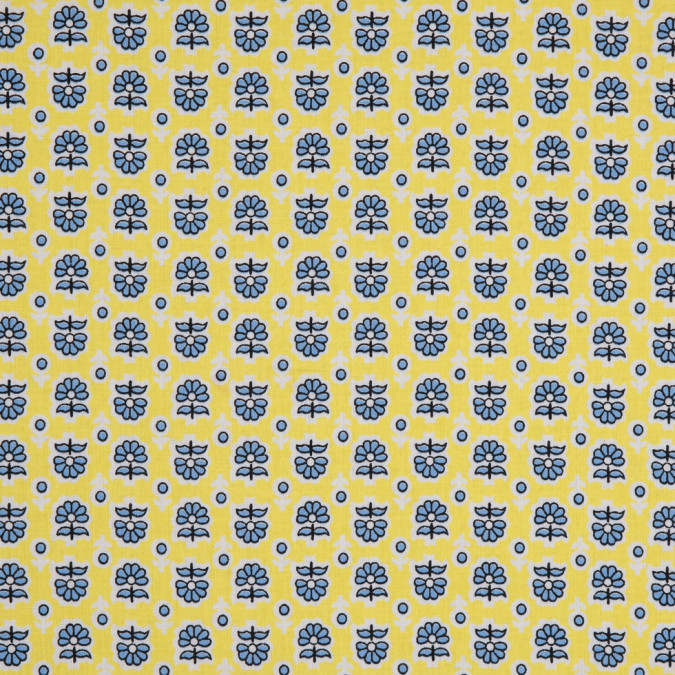 yellow blue cartooned floral combed cotton voile 113825 11