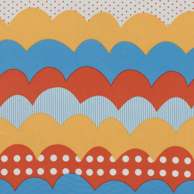 yellow blue orange scalloped stripes printed on a crepe de chine 311630 11