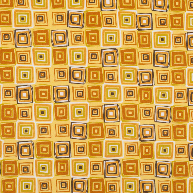 yellow geometric squares stretch cotton sateen 308197 11