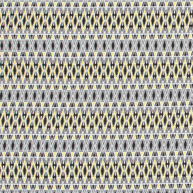 yellow geometric stretch cotton twill 318642 11